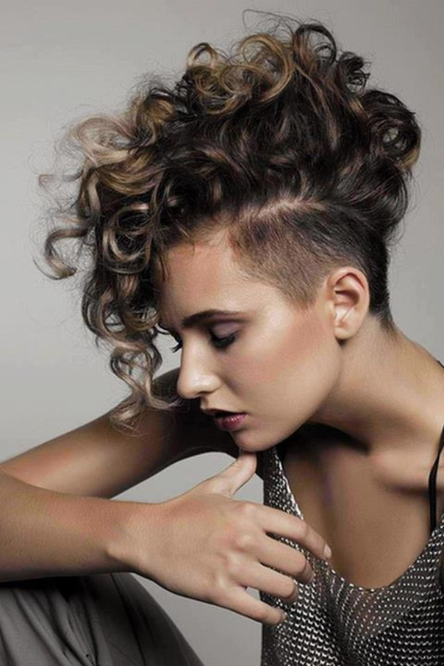 Curls-with-Shaved-Short-Hairstyle Style Personified Short Hairstyles for Young Women