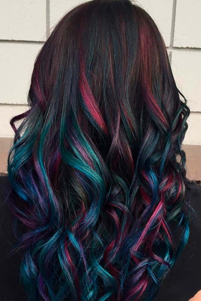 Dark-Rainbow-Hair Best and Beautiful Hairstyles with Color