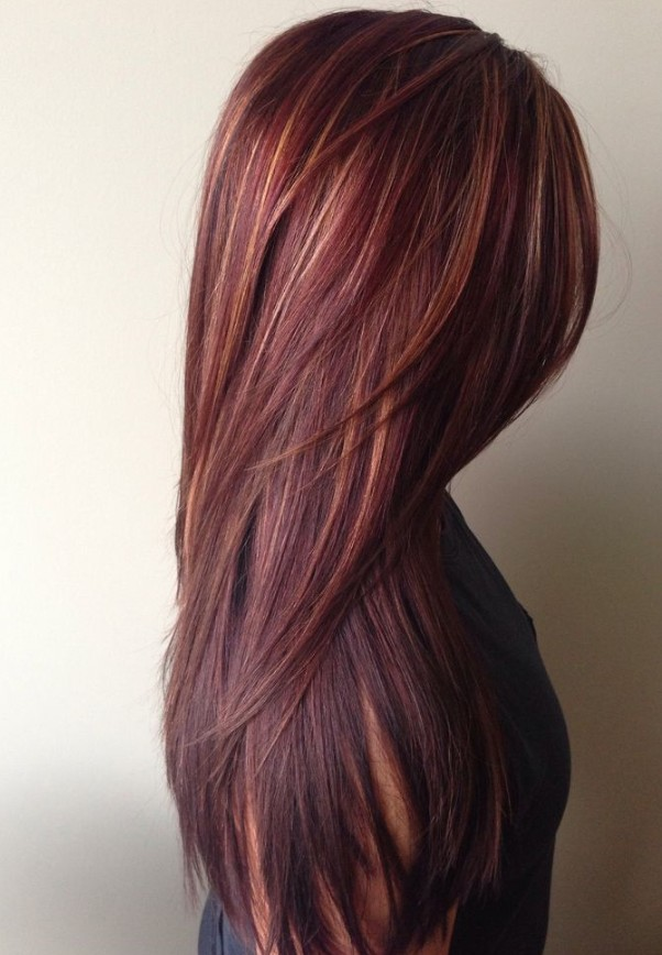 Dark-Red-Hair-with-Caramel-Highlights Best and Beautiful Hairstyles with Color