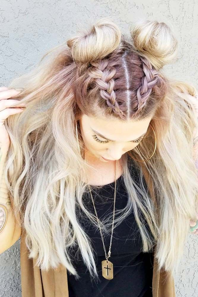 Double-Buns-with-Front-Braid-Hairstyle-1 Spring Hairstyles to Outshine Your Beauty