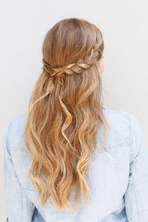 Dual-Textured-Braid-with-Half-Left-Loose-Hair Most Adorable Long Hairstyles with Braids
