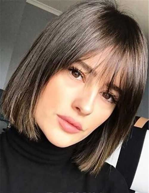 Fine-Bangs Best Short Haircuts for Over 40