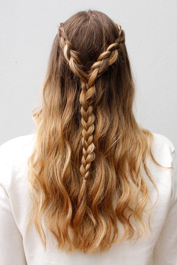 Fishtail-Braid-with-Half-Loose-Open-Hair Most Adorable Long Hairstyles with Braids