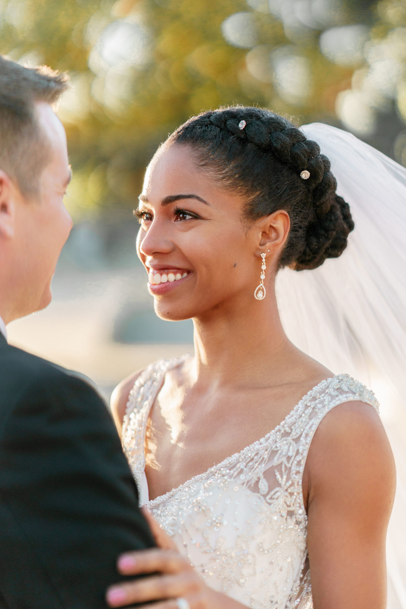 French-Braid-with-Short-Bun-Hairstyle Most Beautiful Natural Hairstyles for Wedding