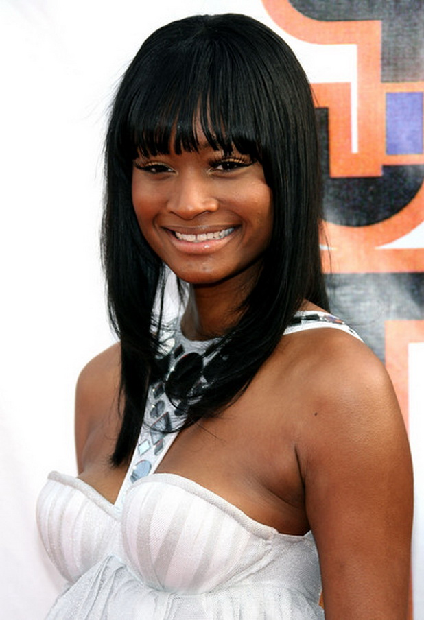 Front-Long-Fringes-with-Layers-in-Jet-Black-Hair Most Stylish Prom Hairstyles for Black Girls