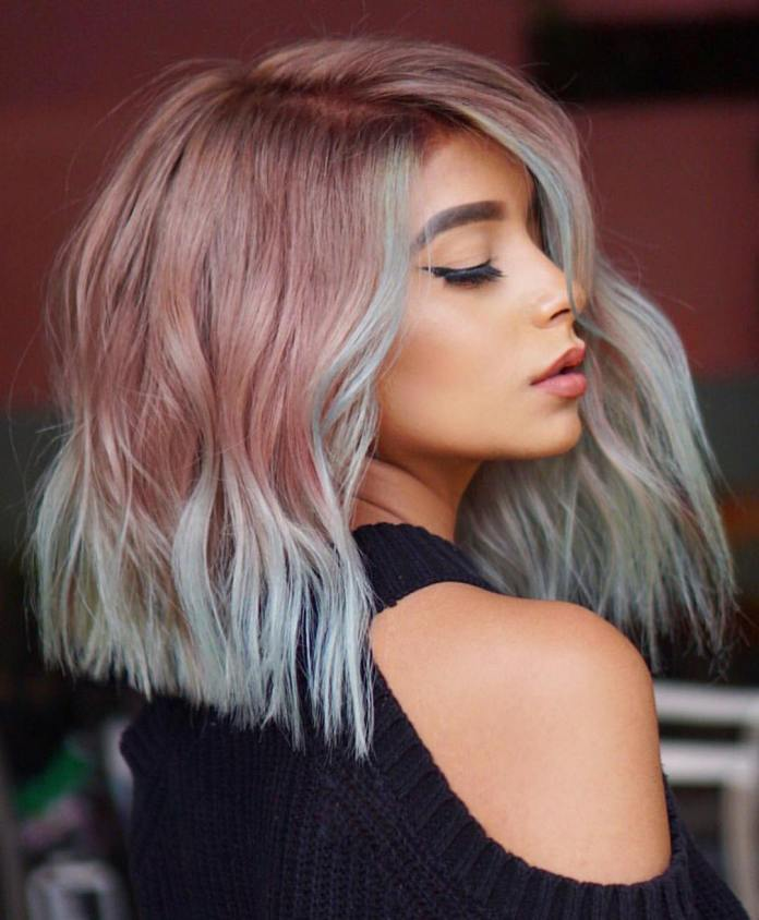 Light-Copper-and-Sea-Green-Asymmetrical-Hairstyle Modern Hairstyles for Women to Look Trendy