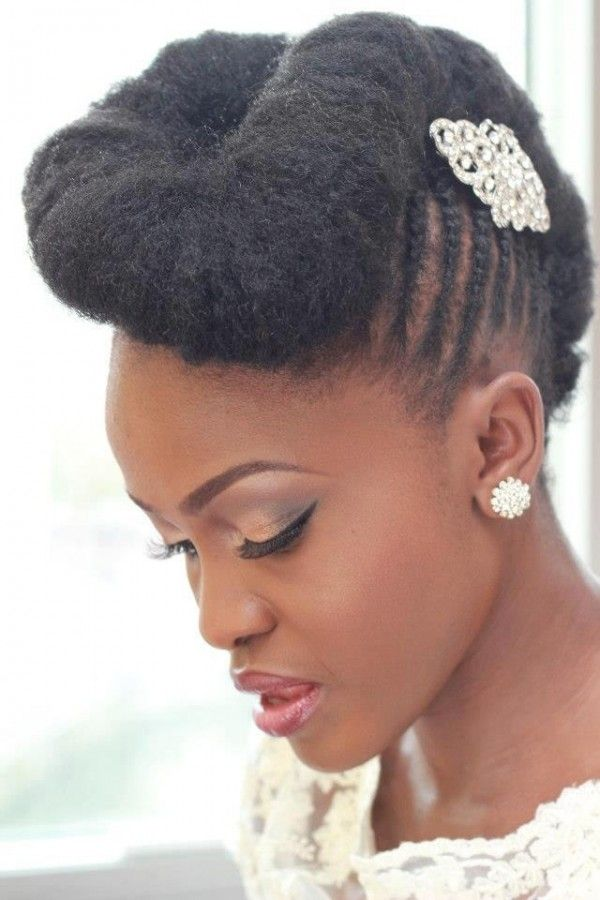 Natural-Pompadour-with-Side-Cornrows Most Beautiful Natural Hairstyles for Wedding