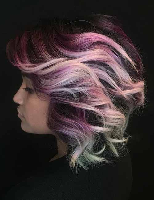 Pink-Mermaid-Layered-Bob Lovely Styling Ideas For Layered Bob Hair