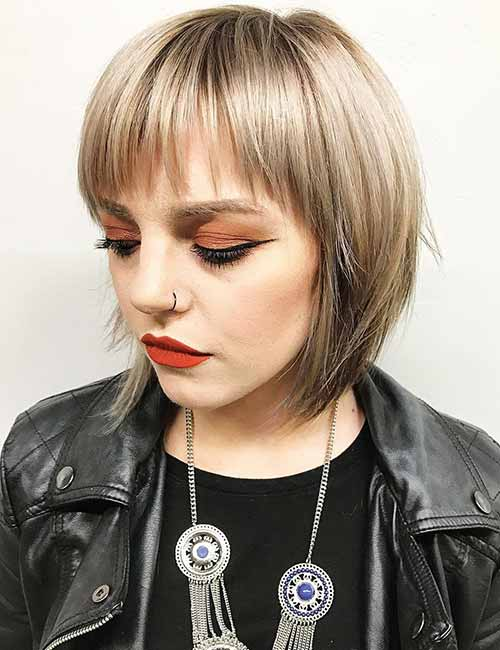 Razor-Cut-Layered-Bob-And-Bangs Lovely Styling Ideas For Layered Bob Hair
