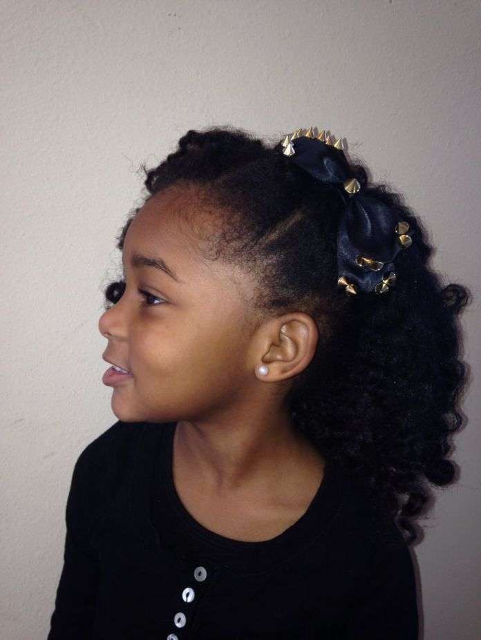 Side-Ponytail-with-Multiple-Partitions-Tied Cutest African American Kids Hairstyles