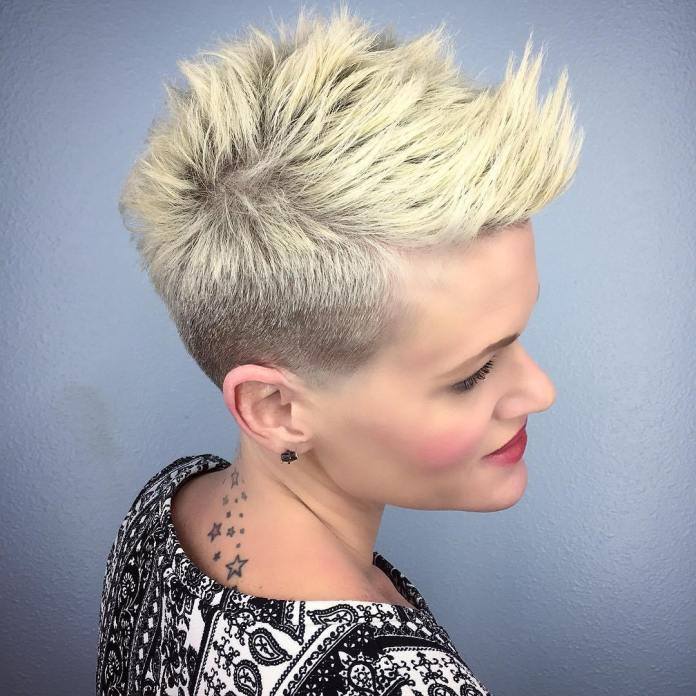 Side-Shaved-Spiked-Short-Hairstyle Style Personified Short Hairstyles for Young Women