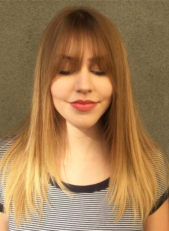 Straight-Ombre-Layers-And-Eye-Grazing-Bangs Layered Hairstyles With Bangs
