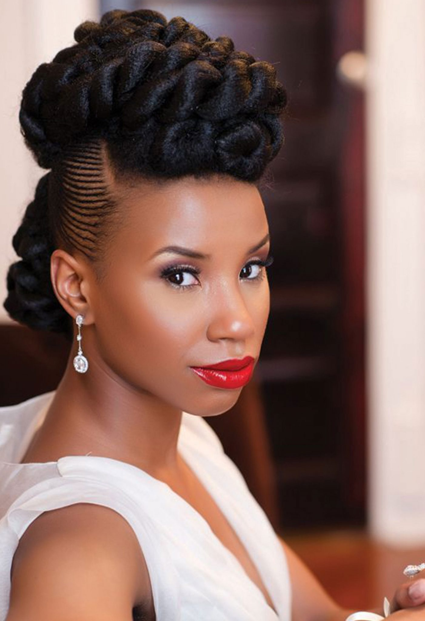 Updo-Mohawk-Hairstyle Most Beautiful Natural Hairstyles for Wedding