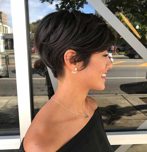 Dark-Brown-Layered-Short-Pixie-Cut Best Layered Pixie Hairstyles