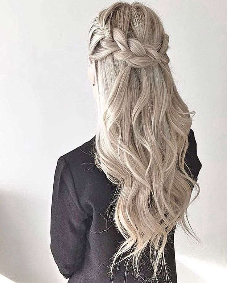 Long-Blonde-Hair-with-Half-Braids-and-Half-Waves Christmas Party Hairstyles to Enhance Your Look