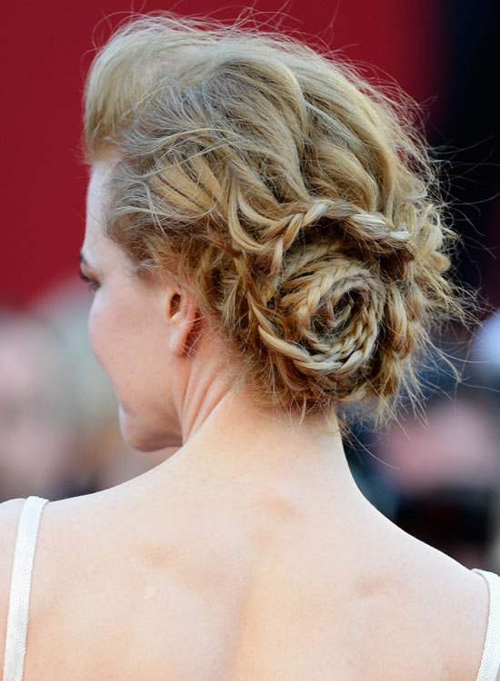 Messy-Braided-Rose-Updo-With-Puff Bridal Hairstyle Ideas For Your Reception