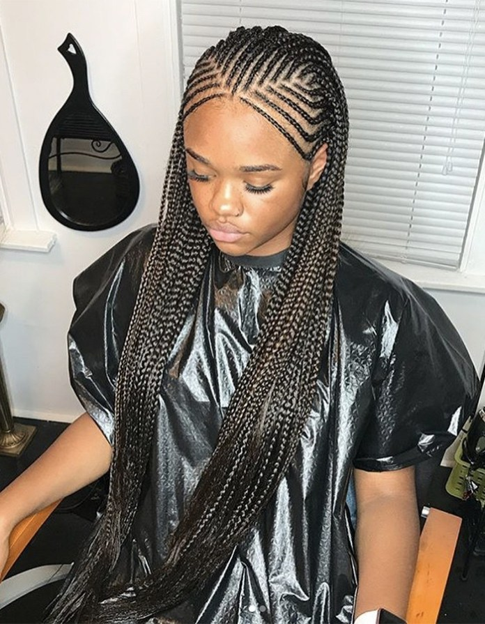 Nubian-Braids-with-Single-Rows Braided Hairstyles You Need to Try Next