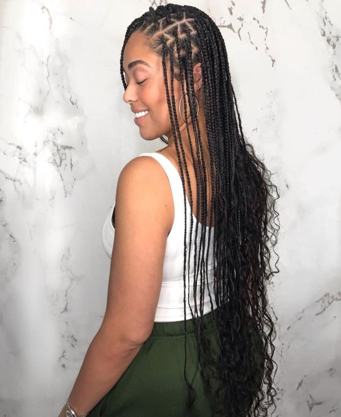 Patterned-Narrow-Long-Knotless-Box-Braid Cool and Trendy Knotless Box Braids Styles