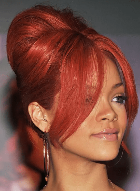 Red-Edgy-Bouffant Best Rihanna Hairstyles