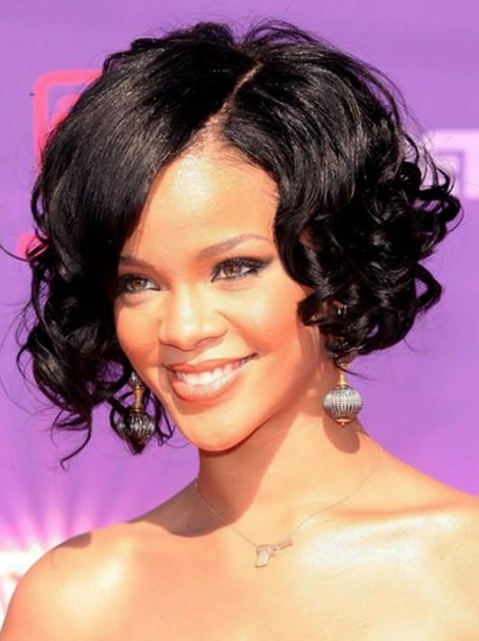 Rihanna's-Curly-Bob-Haircut Stylish and Glamorous Curly Bob Hairstyle for Women