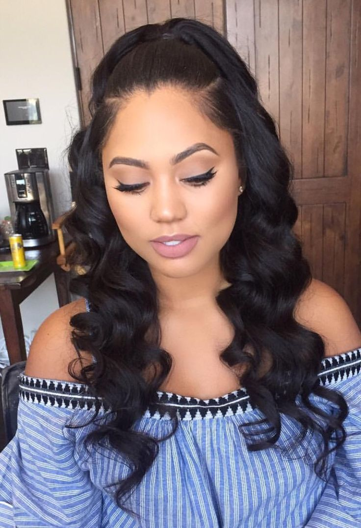 Straight-and-Tonged-Curls-with-a-Half-Tie Charming and Cute Hairstyles for Black Women