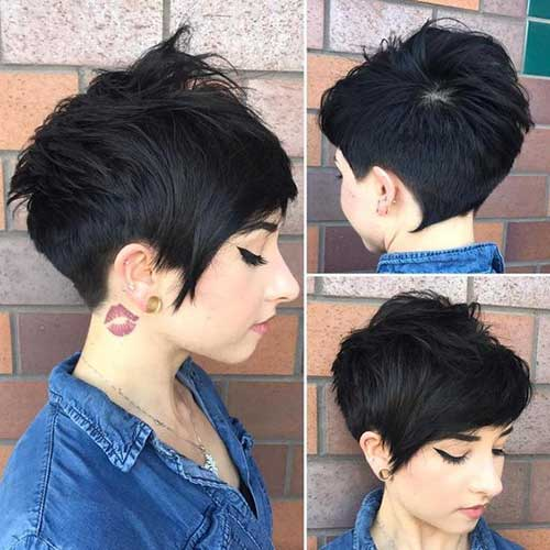 Thick-Dark-Brown-Pixie Best Layered Pixie Hairstyles