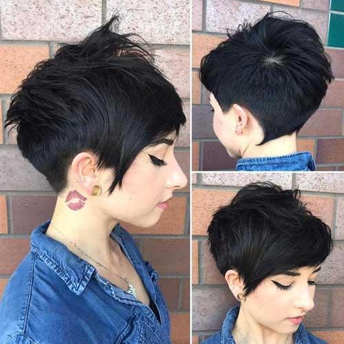 Thick-Dark-Brown-Pixie Best Layered Pixie Hairstyles