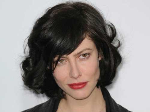 Anna-Mouglalis'-Perfect-Dark-Curly-Bob-Style Best Bob Cuts for Curly Hair