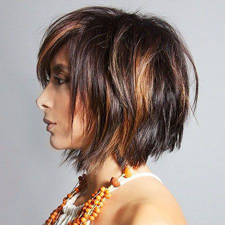BROWN-HINTED-BALCK-TOUSLED-MANE Short Messy Bob Hairstyles 2020