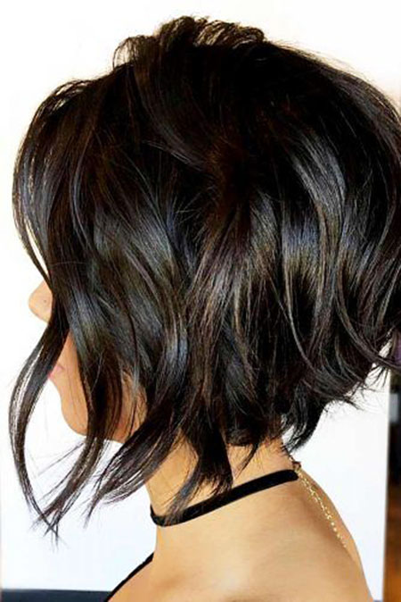 BRUNETTE-SIDE-VIEW Short Messy Bob Hairstyles 2020