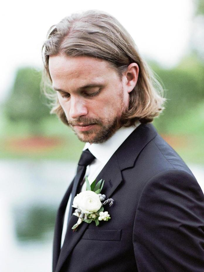 Center-Parted-Long-Hair Stylish Wedding Hairstyles for Men