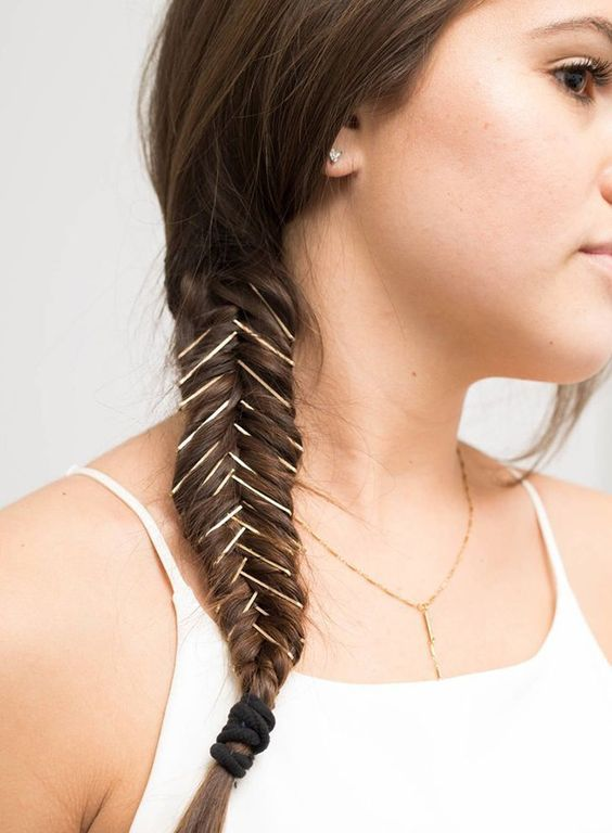 Crisscross-Pins-on-Braids Most Attractive Hairstyles with Hair Pins