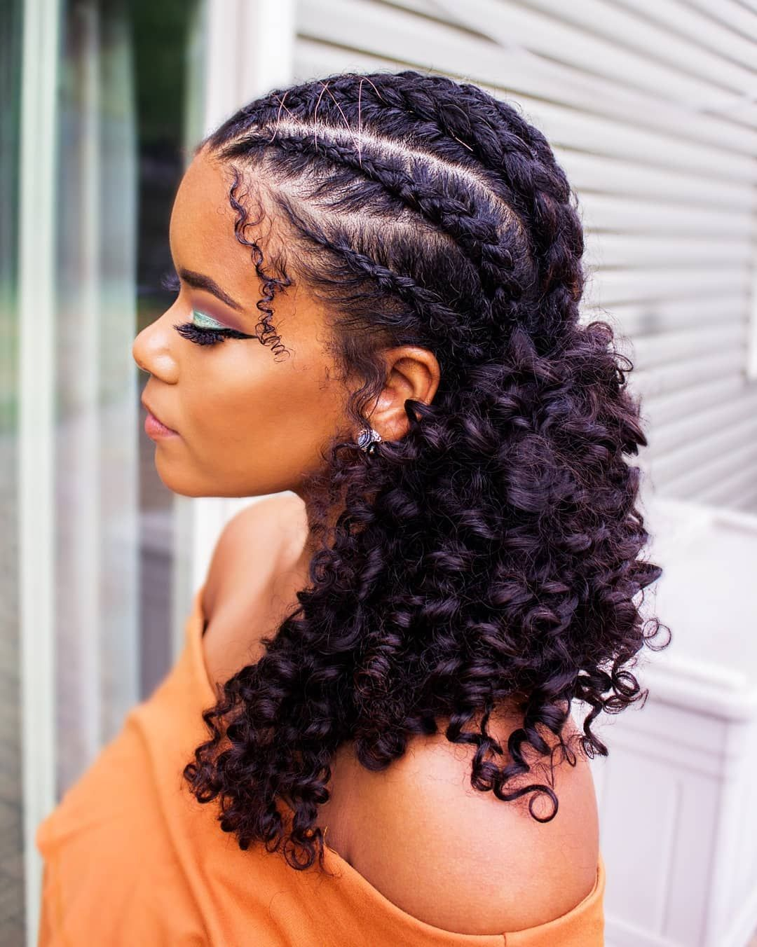 Curly-Braided-Hair Cute Homecoming Hairstyles for Astonishing Look