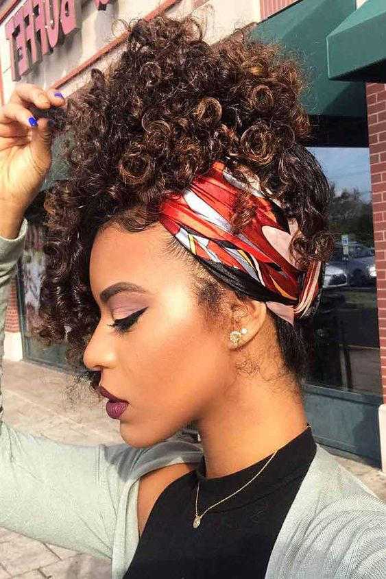 Curly-Updo-with-Bandana Cute Hairstyles for Girls to Look Charismatic