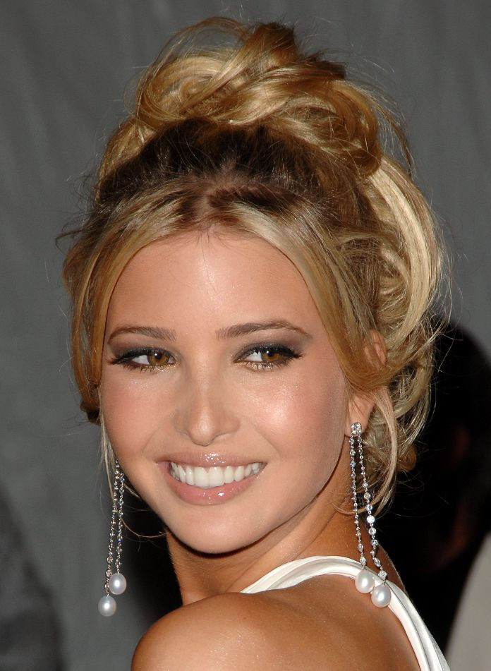 Front-Bangs-with-High-Messy-Bun Very Attractive Ivanka Trump Hairstyles