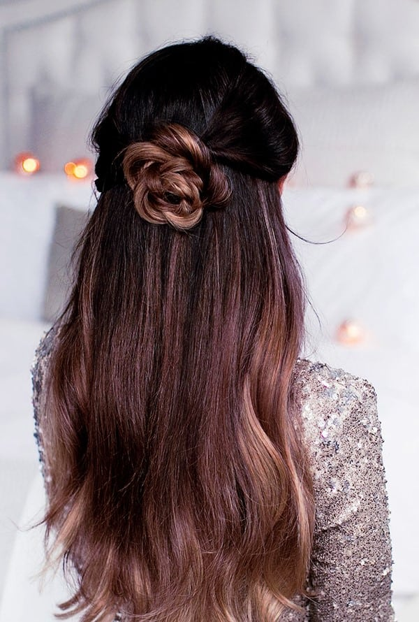 Half-Braided-Flower-Bun Hot and Happening Girls Hairstyles for Party