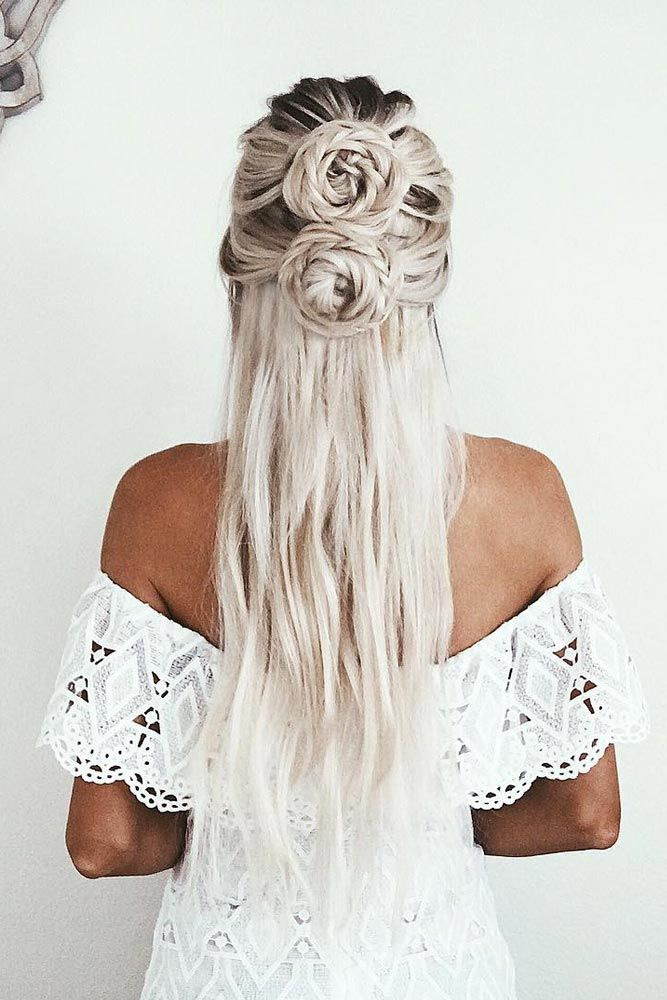 Long-Platinum-Blonde-Hair-with-Double-Braided-Buns Cute Homecoming Hairstyles for Astonishing Look