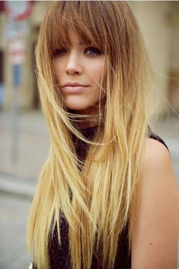Long-Straight-Ombre-Hairstyle-with-Bangs Most Glamorous Long Straight Hairstyles for Women