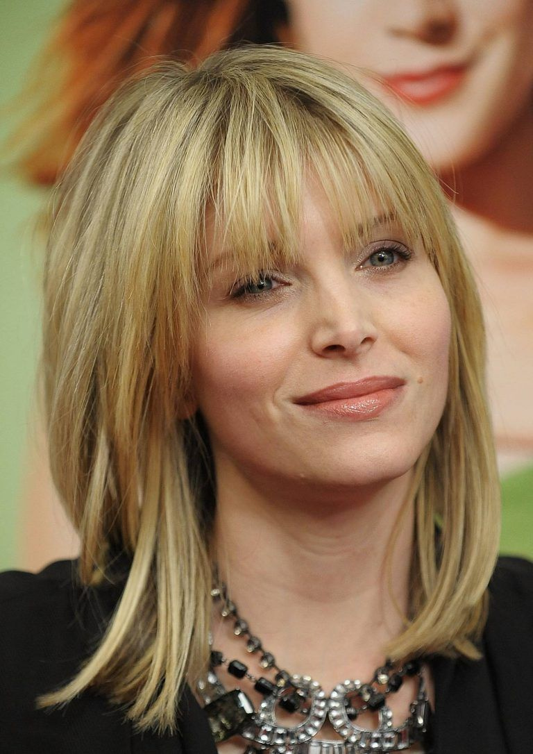 Medium-Length-Hair-with-Bangs Most Ravishing Hairstyles for Double Chin