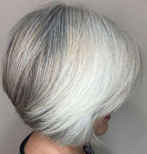 Natural-Grey-Hair Short Haircuts for Older Women 2019
