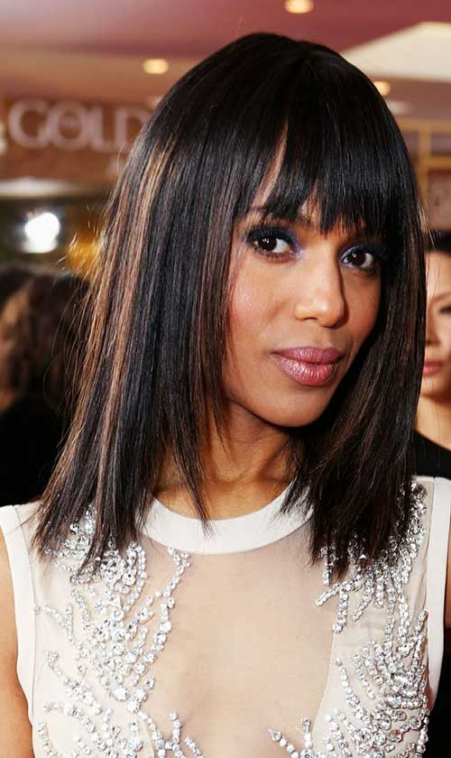 New-Shoulder-Legth-Hair-with-Bangs-for-Black-Women New Short Hairstyles With Bangs For Black Women