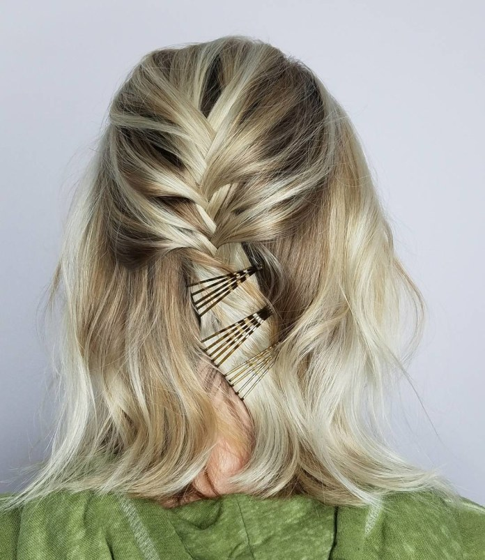 Simple-Braided-Short-Hair Most Attractive Hairstyles with Hair Pins