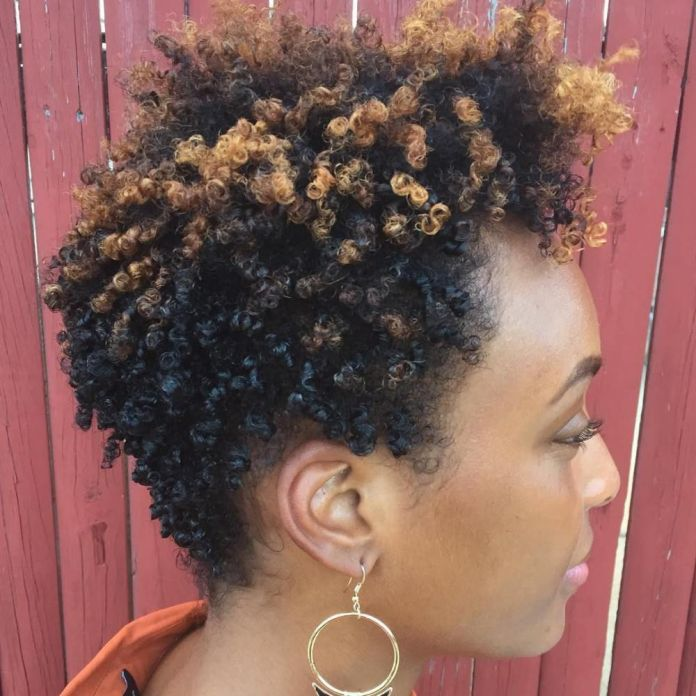 Afro-American-Curly-Hairstyle Most Beautiful Black Hairstyles with Highlights