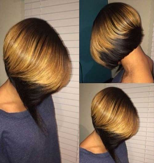 Black-Colored-Tips-Bob-Hair-Style Short Hairstyle Color Ideas