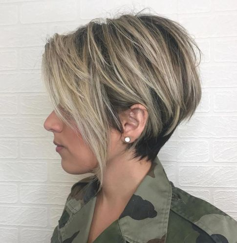 Black-and-Ash-Blonde-Pixie-Bob Short Haircuts For Thick Hair