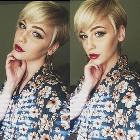 Blonde-Colored-Hair-with-Side-Swept-Front Pixie haircuts are undoubtedly the best short haircuts for you