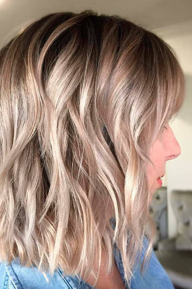 Blonde-Wavy-Lob-Haircut Easy Hairstyles for Women Over 50