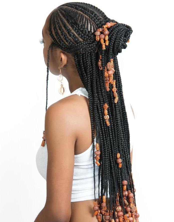 Braids-with-Bun Tribal Braids for Super Trendy Appearance