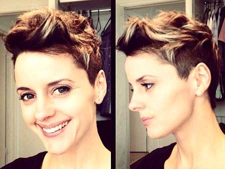 Brown-and-Blonde-Colored-Spiky-Hairstyle Short Hair Colors Ideas 2020