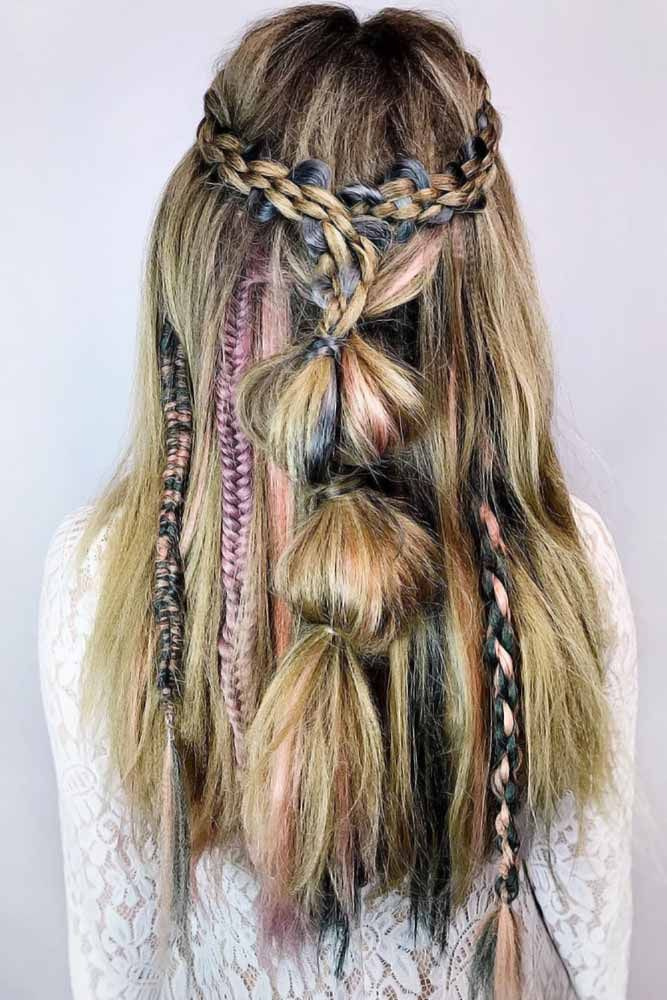Bubble-Updo-with-Braids Hippie Hairstyles for a Stylish and Reviving Look